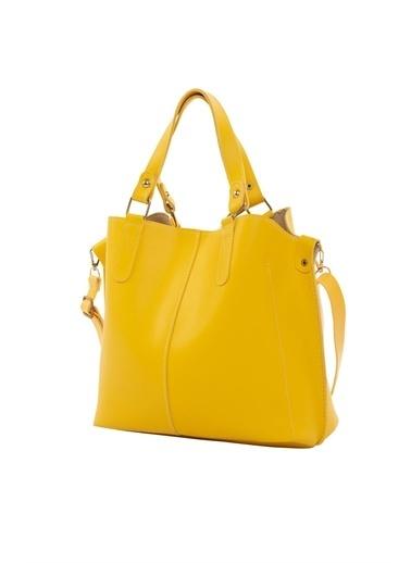 Bagmori Kadın Üç Bölmeli Çıtçıt Detaylı Çanta M000002918 Sarı